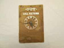 """Vintage 1940s """"Out Will Return"""" Clock/Time Storefront Business Paper Board Sign"""