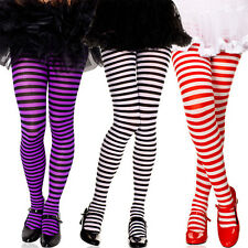 Girls Sizes 1-15 Kids Childrens Striped Costume Dance Tights Opaque Pantyhose