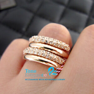 18k gold GF solid engagement wedding stacked ring set made with swarovski