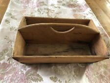 "Antique Handmade Wooden Serving Tray Colonial Vintage Box 13""x9"" Primitive"