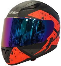 LS2 FF353 RAPID  FULLFACE MOTORCYCLE HELMET DEADBOLT ORANGE WITH RAINBOW VISOR