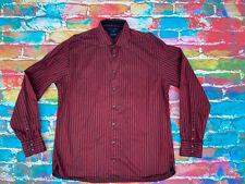 AN42 Tommy Hilfiger Mens Shirt Dark Red Black Stripe XL