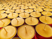 🐝 Beeswax Tealights BULK 100% Pure Candles / USA Honey Tea Lights / Aluminum 🐝