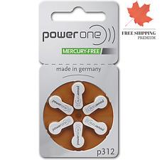 Power One Size 312 Zinc Air Hearing Aid Batteries (60 Batteries)
