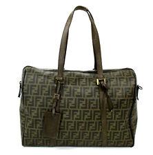 FENDI Tobacco Zucca Logo Canvas & Leather Weekender Travel Duffle Bag