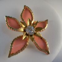 VINTAGE METAL FLOWER PIN BROOCH Costume Jewelry Peach Gold-tone Rhinestone