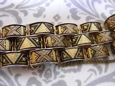 DAMASCENE BRACELET GOLD & BLACK Rare 3 tier Weave WOVEN LINK TOLEDO SPAIN