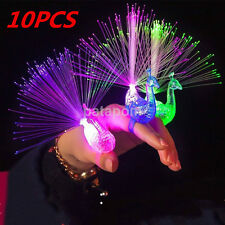 10Pc Finger Light Up Ring Laser LED Party Rave Favors Glow Beams Toys Peacock