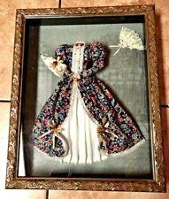 Beautiful Victorian Shadow Box - Victorian Dress, Fan & Sun Umbrella