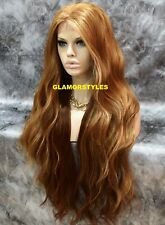 Human Hair Blend Hand Tied Monofilament Lace Front Full Wig Strawberry Blonde