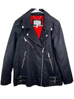 BCBGeneration Faux Leather Biker Jacket Cotton Polyester Black Size M