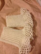 Crocheted off-white coat cuffs