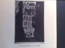 Vintage 1940s woodcut print A Motive of Old Warsaw by T Cieslewski