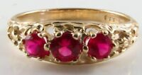 DIVINE 9K 9CT GOLD RICH RUBY 3 STONE TRILOGY VINTAGE INS RING FREE RESIZE