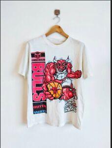 Rare Vintage Chicago Bulls Crazy Mascot Logo 90's 2side t-shirt NBA Basketball