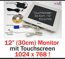 "30.5cm 12"" MONITOR MIT USB TOUCHSCREEN FÜR WINDOWS XP WIN 7 8 32+62 BIT 1024x768"