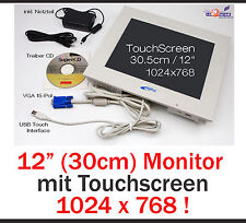"""30.5cm 12"""" Monitor con USB Touchscreen per Windows XP Win 7 8 32+62 bit 1024x768"""