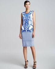 2K Roberto Cavalli porcelain bird majolica print blue white dress sz 48 12 L
