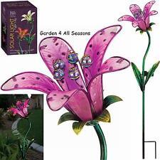PINK TIGER LILY Flower Solar Light Garden Stake Creekwood Regal Art & Gift Boxed