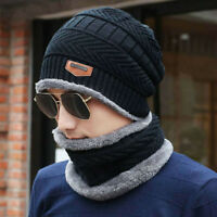Mens Hat Winter Warm Cotton Hat and Scarf Set Unisex Knitted Cap with Scarf