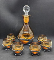 FARBER BROS KROME KRAFT Cambridge Glass Amber Cordial Decanter With 6 Glasses