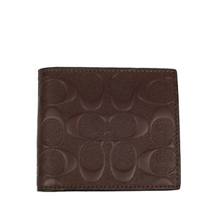 NWT COACH Compact ID Wallet Billfold Case Card Insert Bifold Mahogany F75363