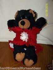 "Fiesta Baby Black Bear Blanket With Maple Leaf Plush 10"""