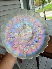 Northwood Carnival Glass White Peacock & Urn Large Ice Cream Bowl Signed