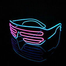 Pink + Blue Neon El Wire LED Glasses Frame Shutter lights laser party eye wire