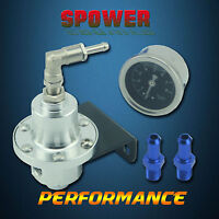 Universal Aluminum Adjustable Fuel Pressure Regulator With Gauge Type S Silver