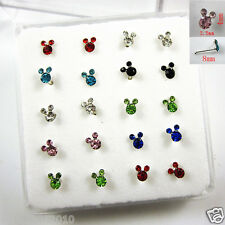 Wholesale Lots 20 Pcs 925 Solid Silver Crystal Mickey Mouse Nose Ring Bone Stud