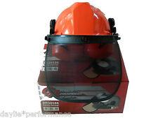 Chainsaw brushcutter safety helmet hard hat mesh visor and earmuffs
