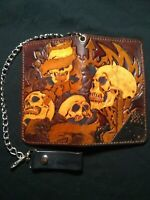 Tooled Biker Wallet. $35.00 without chain or tooling on the inside