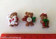 3x Christmas Bears Novelty Buttons by Dress It Up Jesse James Buttons 7497