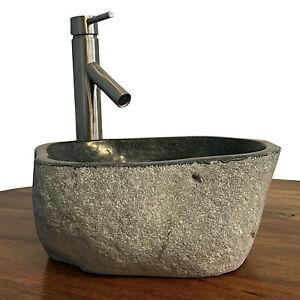 Granite Vessel Sink Stone Boulder Bathroom Counter Top Vanity Fixture SNVS1