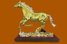 SUPER DEAL 24K Gold Plated Genuine Bronze Stallion Horse Sculpture Statue