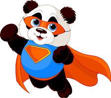 PREMIUM Aufkleber Panda Pandabär Supermann Auto Sticker Autoaufkleber Kinder