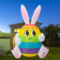 5FT Easter Bunny Egg Patch Lighted Airblown Inflatable Yard Decor