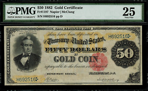 """1882 $50 Gold Certificate FR-1197 - Graded PMG 25 """"Comment"""" - Napier / McClung"""