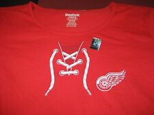 WOMENS DETROIT RED WINGS REEBOK T SHIRT LACES LOGO SIZE LARGE L  RED NEW