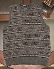 Ralph Lauren Fair Isle Gentleman's VEST Wool , Camel Hair & Alpaca Sz SMALL Gray