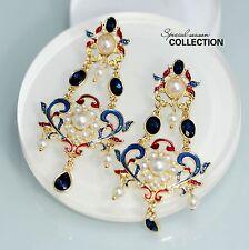 Boucles d`Oreille Clip Pince Nonpercé Gros Chandelier Perle Bleu Rouge Leger YW2