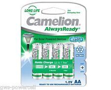 4 x Camelion AA HR6 NiMH Mignon 600mAh Akku Blister Always Ready Solar 17406406