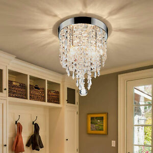 Crystal Chandelier Flush Mount Ceiling Light 2 Bulbs Pendant Lighting Fixture