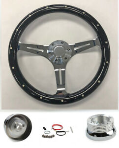 "65-69 Fairlane Ranchero Torino Galaxie 15"" Steering Wheel Black Wood on Chrome"