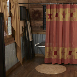 VHC Brands Primitive Shower Patchwork Border Curtain Red Rod Pocket Bath Decor