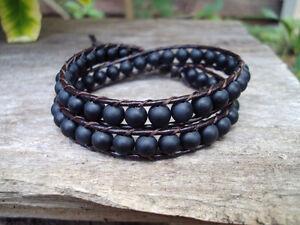 Matte onyx Bracelets,Stone bracelets,Black bracelets,Leather bracelets, 2 wrap