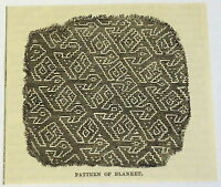 small 1883 magazine engraving ~ PATTERN OF BLANKET, Peru