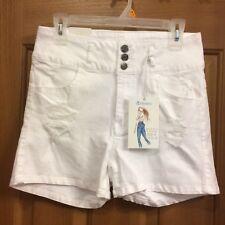 Apriljeans White Jean Shorts Distressed Misses Size Large NEW