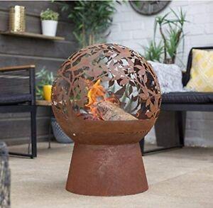 Large Oxidized Fire Pit: La Hacienda Globe (Wood Burner Grill Chimenea Patio)